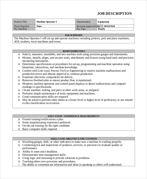 Machine Operator Job Description Templates 11 Free Sample. Smt
