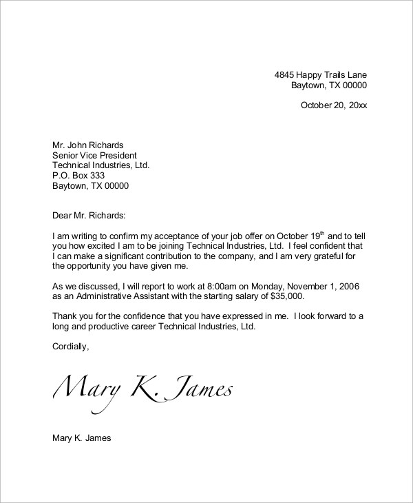 Offer Letter Acceptance Email Reply