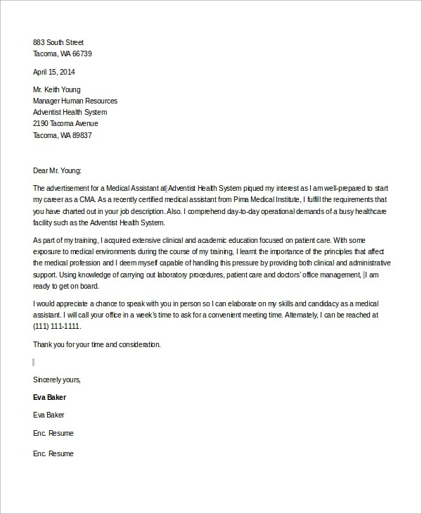 Sample Medical Assistant Cover Letter  8 Examples in Word PDF