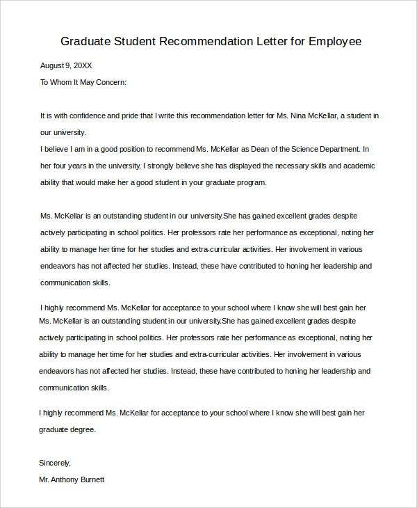 recommendation letter for graduate students
