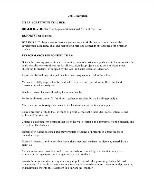Sample Teacher Job Description  12 Examples in Word PDF