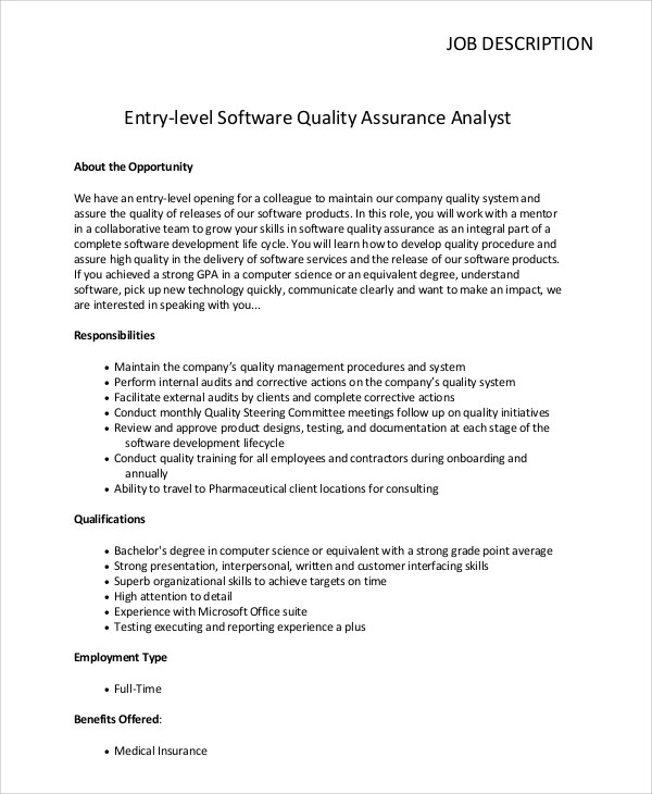 Sample Quality Assurance Job Description  10 Examples in PDF Word