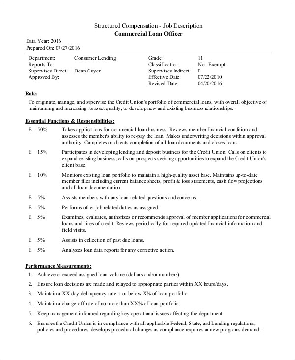 Sample Loan Officer Job Description  8 Examples in PDF Word