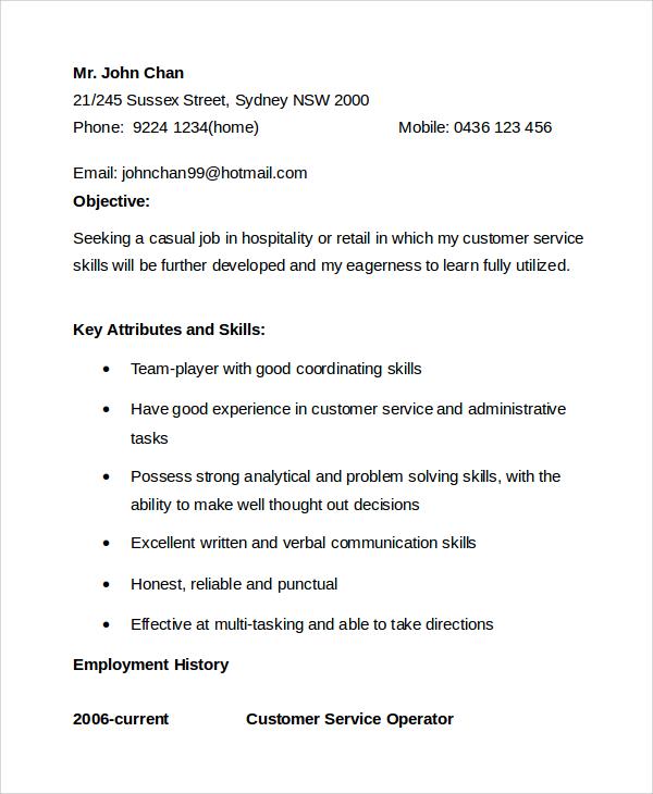 sample resume customer service objective
