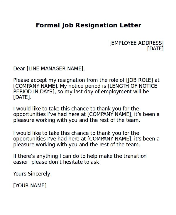8 Formal Resignation Letter Samples Sample Templates