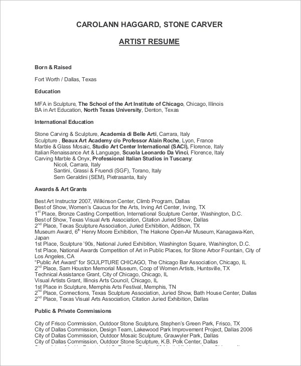 8 Sample Artist Resumes Sample Templates