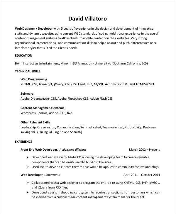 Sample Web Developer Resume 10 Examples In Word Pdf  Sample Web Developer Resume