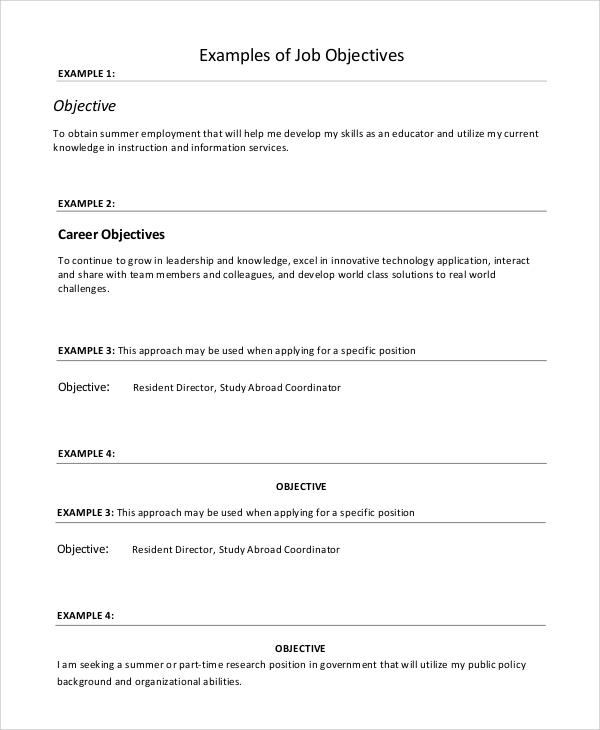 9 Resume Objective Samples – PDF Word Sample Templates