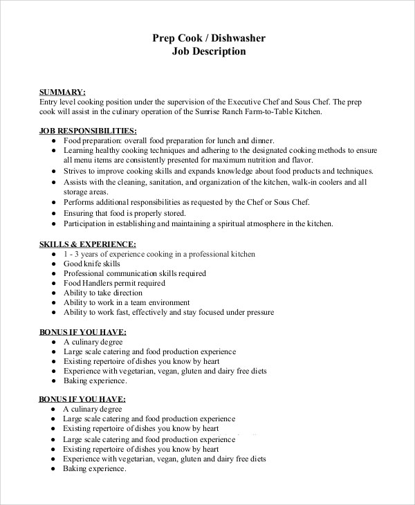 Sample Dishwasher Job Description 8 Examples In PDF Word