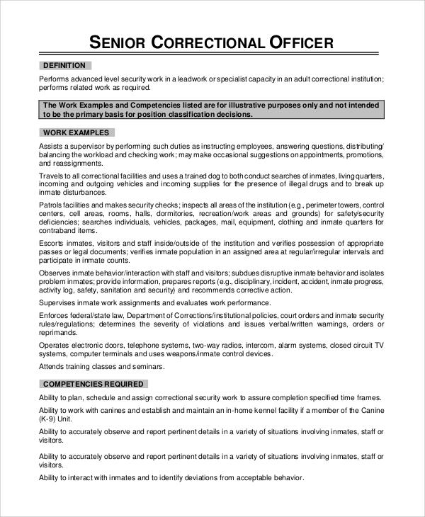 Sample Correctional Officer Job Description 7 Examples