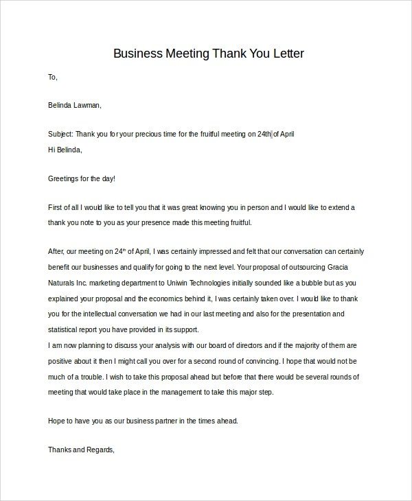 Thank You Letter After Meeting Prospective Client  Docoments Ojazlink