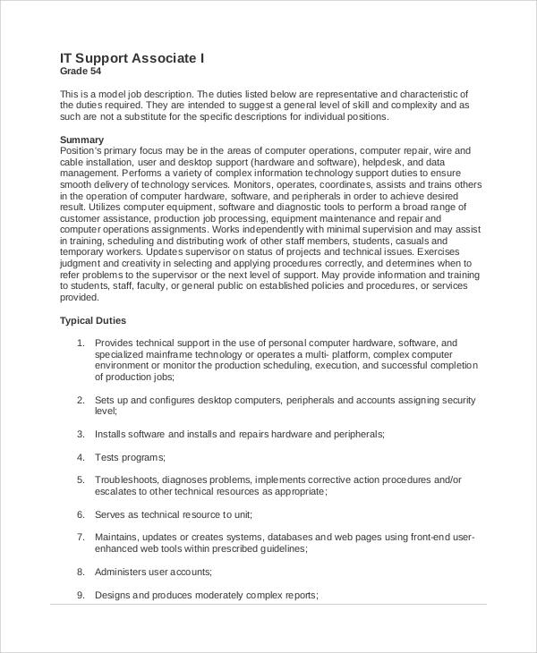 sample internship job description