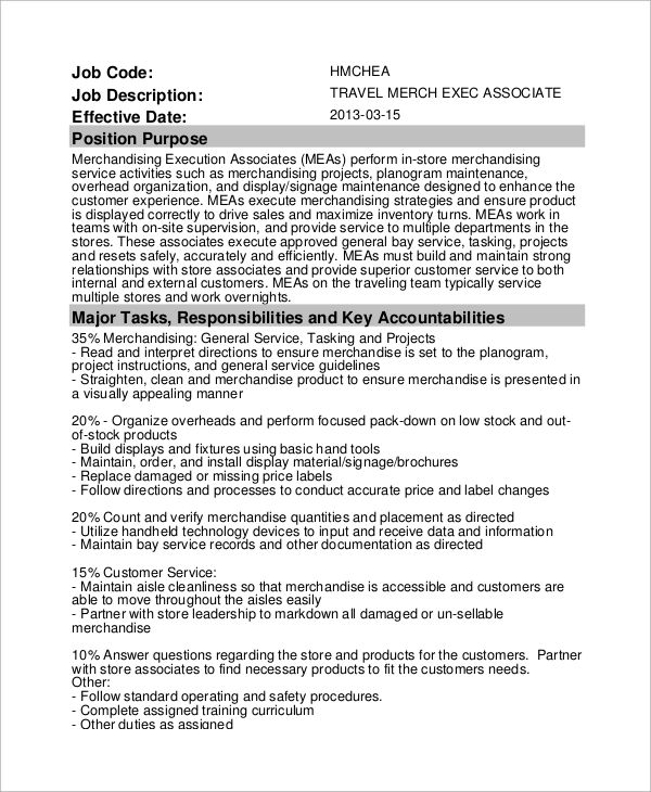 sample of job description