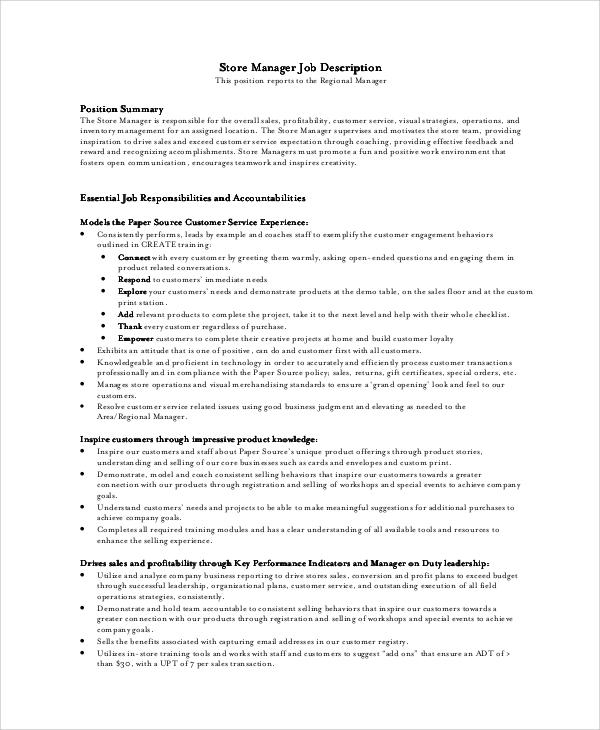 10 Store Manager Job Description Samples Sample Templates