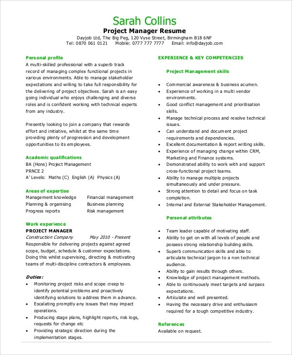 8 Sample Project Management Resumes Sample Templates