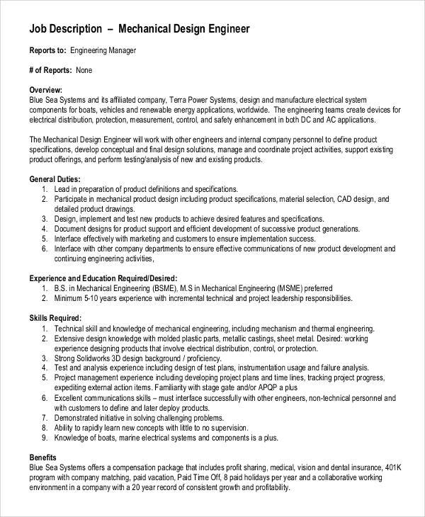 10 Mechanical Engineering Job Description Samples