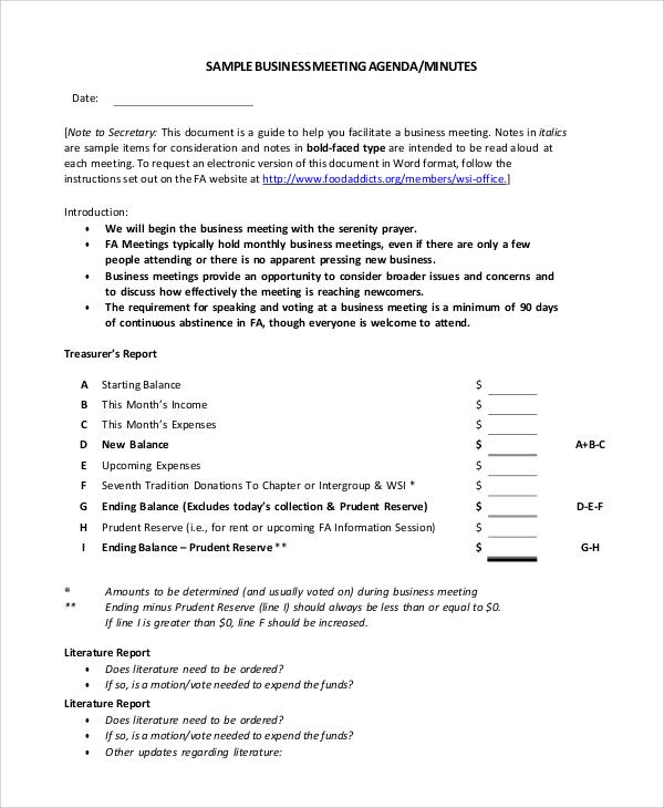 agenda samples for meetings