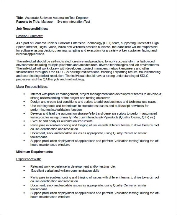 Network Test Engineer Cover Letter