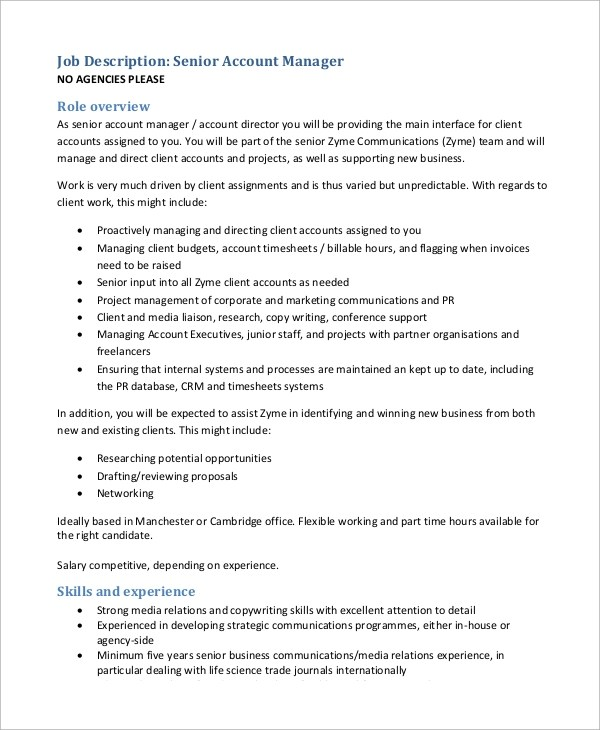 Sample Accounting Manager Job Description 10 Examples