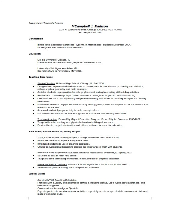 8 Sample High School Resumes Sample Templates