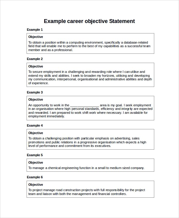 Sample Career Objective Statement 7 Examples In Word PDF