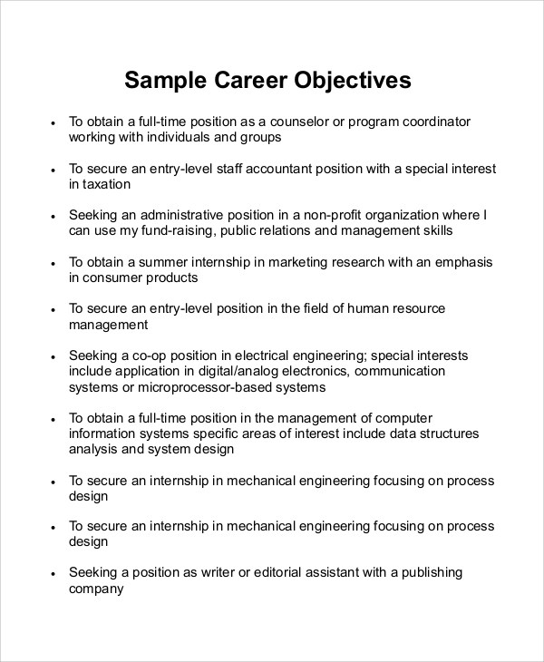 Strong Objective Statements For Resume