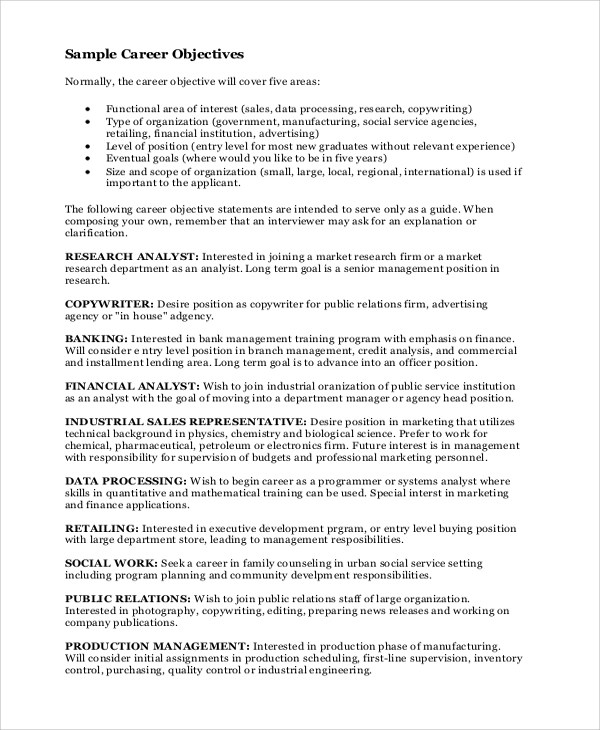 Career Objectives Career Objective Resume Samples Objectives On