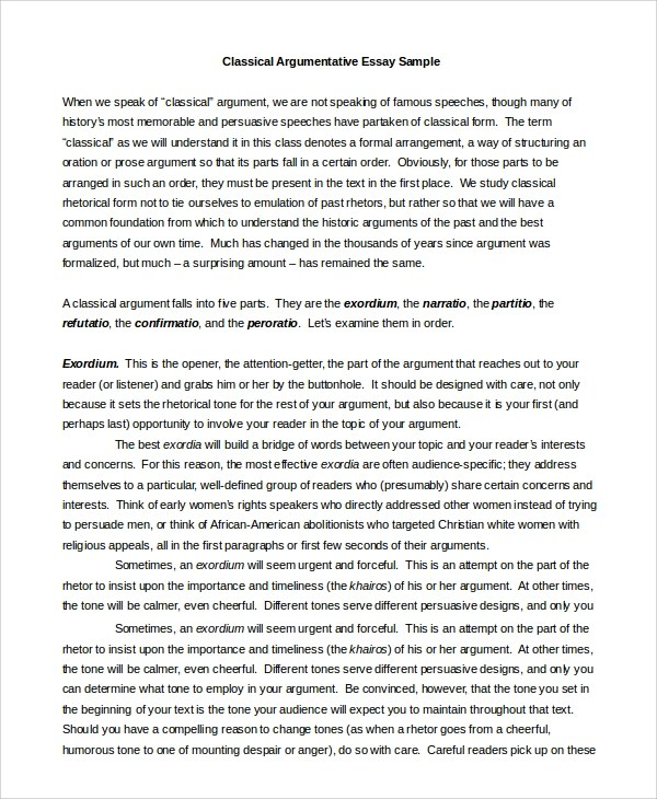 Argumentative Essay Argumentative Essay Sample Examples In Pdf Word