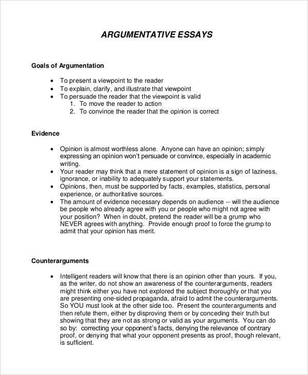 Sample Argument Essay Argumentative Essay Sample Examples Top