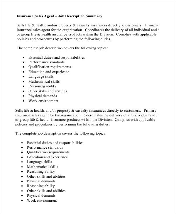 insurance representative job description