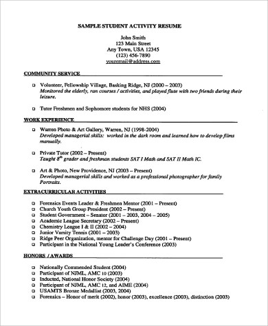 9 Resume Examples For Students Sample Templates