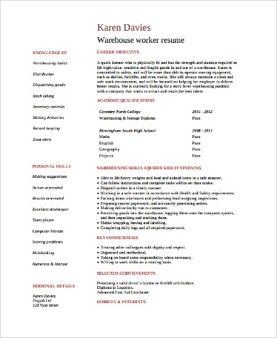 9 Sample Warehouse Worker Resumes Sample Templates