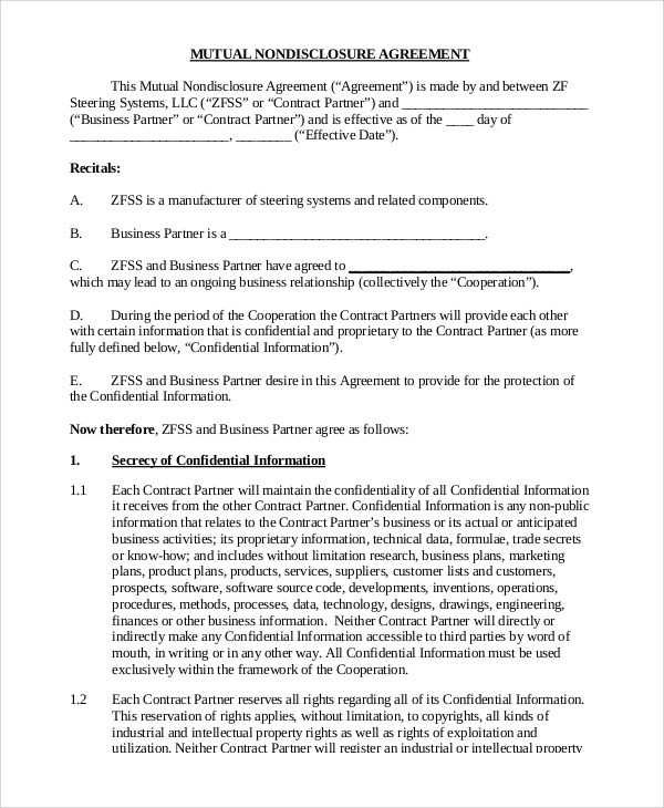 The receiving party shall have executed or shall execute appropriate written agreements with third parties, in a form and manner sufficient to enable the. Free 9 Sample Non Disclosure Agreement Forms In Pdf Ms Word