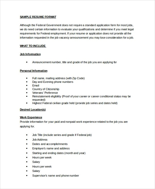 8 Sample Resumes In Word Sample Templates