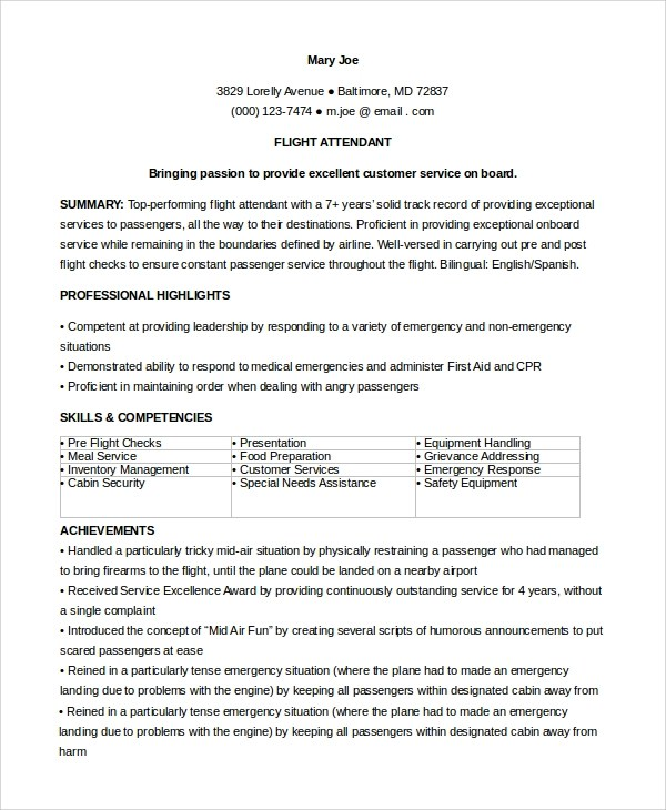 6 Sample Flight Attendant Resumes Sample Templates