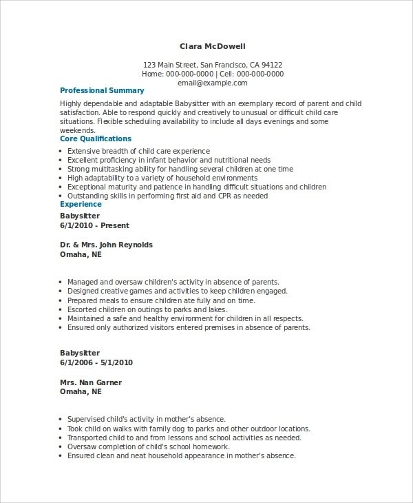 experienced babysitter resume