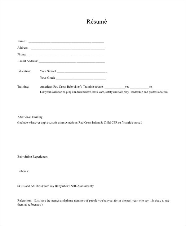 resume skills babysitting