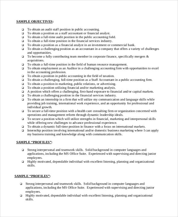 sample accounting resumes objectives