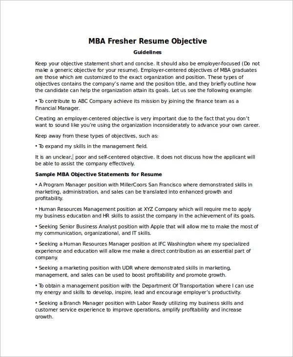 Mba Resume Objective Constescom Mba Career Objective For Resume