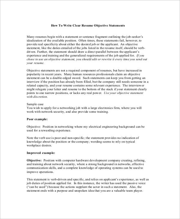 objective statement resume sample
