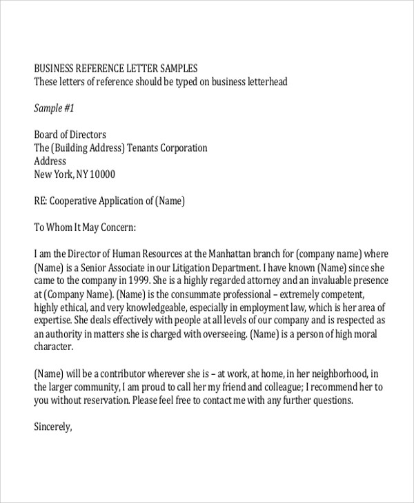8 Sample Reference Letter Formats Sample Templates