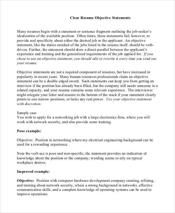 9 Sample Objective Statements For Resume Sample Templates