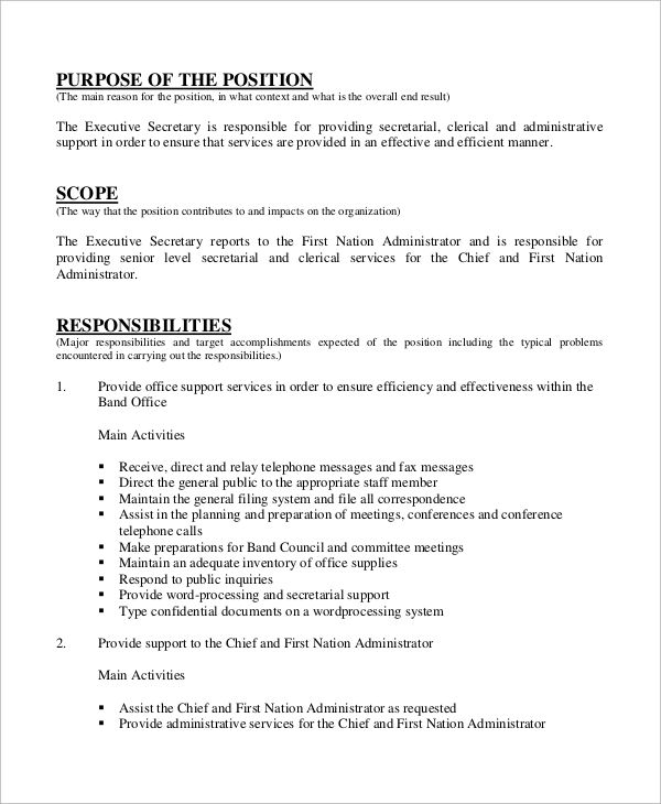 secretary resume job skills