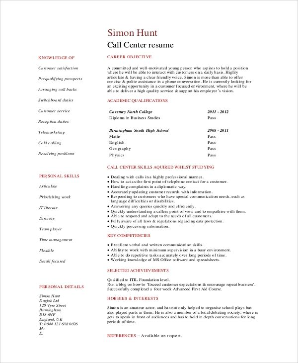 free resume templates for call center