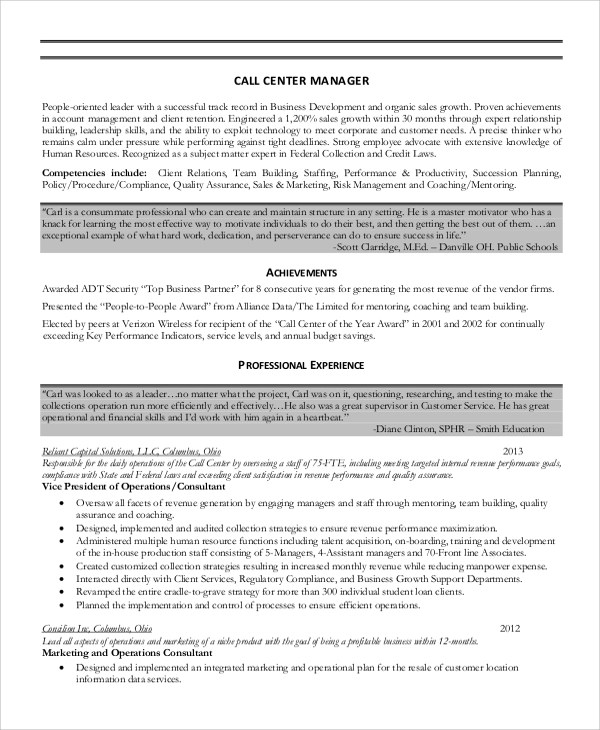 8 Sample Call Center Resumes Sample Templates