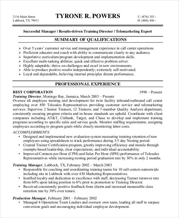 best examples of resumes for customer service