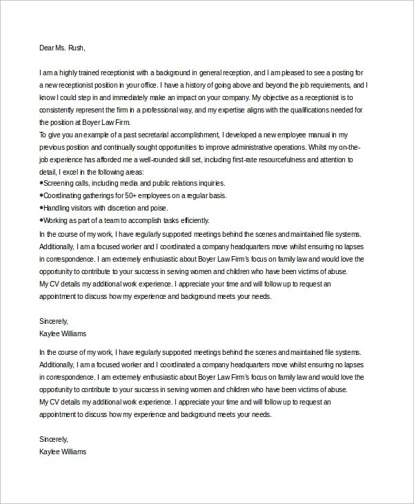 cover letter for medical office receptionist