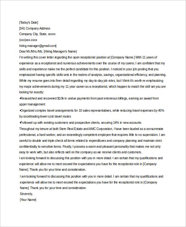 dental receptionist cover letter