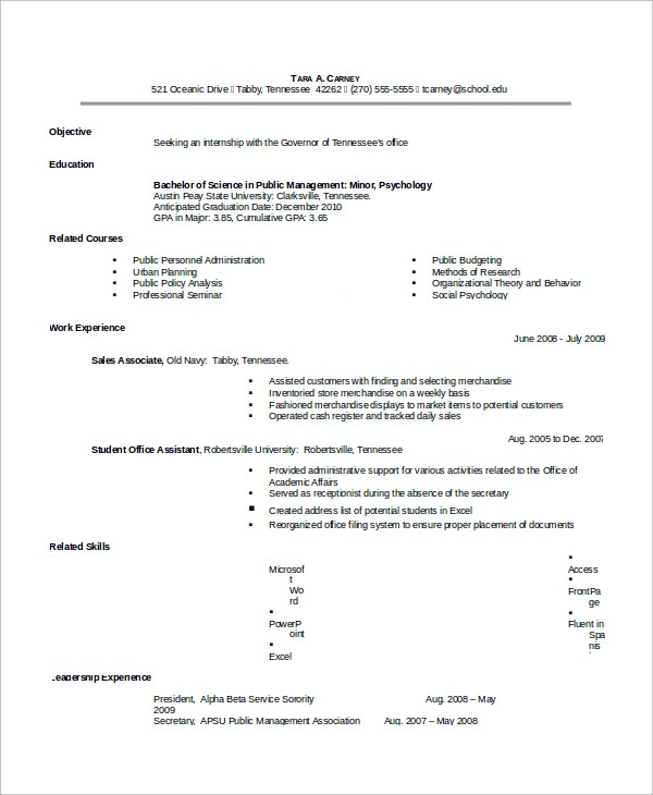 10 Sample Resumes For Internship Sample Templates