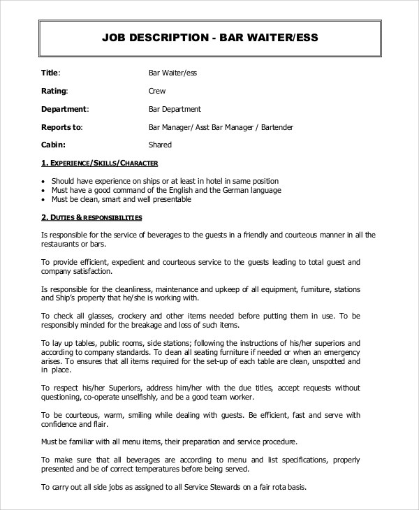 9 Waiter Job Description Samples Sample Templates